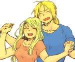 1boy 1girl blonde_hair blue_shirt closed_eyes couple edward_elric fingernails fullmetal_alchemist hand_holding happy hetero igi_(tarqu0ise) jewelry long_hair open_mouth pink_shirt ring shirt short_sleeves simple_background sleeves_rolled_up smile upper_teeth wedding_ring white_background winry_rockbell