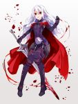 1girl armored_boots blood bloody_weapon boots cape faulds full_body grey_background highres long_hair looking_at_viewer open_mouth petals pixiv_fantasia pixiv_fantasia_last_saga pointy_ears red_eyes simple_background solo sword thigh-highs thigh_boots tori_(10ri) weapon white_hair