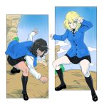 2girls absurdres andou_(girls_und_panzer) bangs bc_freedom_school_uniform black_footwear black_hair black_legwear black_neckwear black_skirt black_vest blonde_hair blue_eyes blue_sky blue_sweater brown_eyes cardigan clenched_hand cliff closed_mouth clouds cloudy_sky dark_skin day dragonball_z dress_shirt fighting_stance frown girls_und_panzer highres hisaki kneehighs loafers long_sleeves looking_at_viewer medium_hair messy_hair miniskirt multiple_girls necktie oshida_(girls_und_panzer) outdoors outside_border pleated_skirt school_uniform shirt shoes skirt sky smile standing sweatdrop sweater sweater_around_neck vest white_shirt wing_collar