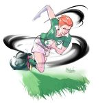 1girl afterlaughs ball blue_eyes cleats commentary english_commentary freckles green_legwear grin highres holding holding_ball ireland leaning_forward moira_(overwatch) nose orange_hair overwatch playing_sports red_eyes rugby rugby_ball rugby_uniform running short_hair smile socks solo sport sportswear very_short_hair