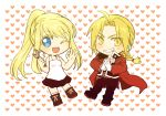 1boy 1girl ;d bangs black_jacket black_pants black_skirt blonde_hair blue_eyes boots braid chibi clenched_teeth coat edward_elric eyebrows_visible_through_hair eyes_visible_through_hair floating_hair full_body fullmetal_alchemist gloves grin hands_clasped heart heart_background holding_wrench jacket ok_sign one_eye_closed open_mouth own_hands_together pants ponytail red_coat shirt simple_background skirt sleeveless sleeveless_shirt smile teeth tsukuda0310 white_background white_gloves white_shirt winry_rockbell wrench