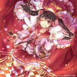 1girl 2016 black_hair bow bow_print box checkered checkered_floor collarbone commission floating_hair frilled_legwear grin hair_bow hair_ornament happy_valentine heart heart-shaped_box heart_hair_ornament heart_print holding_bow leg_up long_hair looking_at_viewer love_live! love_live!_school_idol_project microphone miniskirt momoko_(momoko14) one_eye_closed pleated_skirt print_shirt red_eyes red_sailor_collar red_skirt sailor_collar shirt skirt smile solo standing standing_on_one_leg striped striped_bow striped_legwear thigh-highs twintails very_long_hair white_shirt yazawa_nico