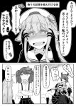 absurdres amatsukaze_(kantai_collection) blush comic crazy_eyes eyepatch face gloves greyscale hair_flaps hair_ornament hair_ribbon hair_tubes hands_on_own_cheeks hands_on_own_face harusame_(kantai_collection) headgear heart heart-shaped_pupils highres kantai_collection long_hair looking_at_viewer monochrome multiple_girls noyomidx open_mouth parody remodel_(kantai_collection) ribbon ryuujou_(kantai_collection) school_uniform serafuku short_hair side_ponytail symbol-shaped_pupils tenryuu_(kantai_collection) translation_request yandere yandere_trance