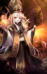 1girl amae2366 black_headwear bone brown_background fire full_body gold_trim hat holding holding_staff jewelry long_hair looking_at_viewer open_mouth red_eyes ring skull staff standing very_long_hair vestments water white_hair wide_sleeves witch