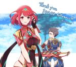 1boy 1girl armor bangs blush breasts brown_hair closed_mouth clouds commentary covered_navel day earrings fingerless_gloves gem gloves hair_ornament headpiece headwear_removed helmet helmet_removed homura_(xenoblade_2) jewelry large_breasts looking_at_viewer looking_back mochimochi_(xseynao) nintendo open_mouth red_eyes red_shorts redhead rex_(xenoblade_2) shirt short_hair shorts shoulder_armor sky smile swept_bangs sword tiara tree twitter_username weapon xenoblade_(series) xenoblade_2 yellow_eyes