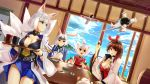 aircraft airplane animal_ears artist_request azur_lane breasts brown_eyes brown_hair cleavage fox_ears headband highres hiryuu_(azur_lane) japanese_clothes kaga_(azur_lane) kitsune multiple_tails pleated_skirt rabbit_ears shikigami shouhou_(azur_lane) skirt tail white_hair zuikaku_(azur_lane)