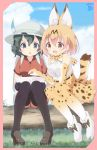 2girls animal_ear_fluff animal_ears aosora_neko backpack bag bare_shoulders belt black_hair black_legwear blonde_hair blue_eyes boot_bow boots bow bowtie commentary_request elbow_gloves eyebrows_visible_through_hair gloves hat_feather helmet high-waist_skirt highres kaban_(kemono_friends) kemono_friends knees_together_feet_apart loafers log multicolored_hair multiple_girls pantyhose pith_helmet pointing print_gloves print_legwear print_neckwear serval_(kemono_friends) serval_ears serval_print serval_tail shirt shoes short_hair short_sleeves shorts sitting skirt sleeveless t-shirt tail thigh-highs yellow_eyes