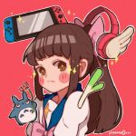 1girl bangs blue_sailor_collar blush_stickers bow brown_eyes brown_hair flower game_console hair_bow hanaan headphones long_hair nintendo nintendo_switch original outline pink_bow pink_flower pink_neckwear ponytail sailor_collar signature solo sparkle spring_onion tonari_no_totoro totoro upper_body white_outline
