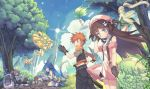 1boy 6+girls :d against_tree ahoge animal_ears antennae backpack backpack_removed bag beret black_gloves blonde_hair blue_eyes blue_hair blue_sky blush blush_stickers boots branch brown_eyes bunny_hair_ornament bush castle cat_ears cat_tail closed_eyes clouds dark_skin day dragon dress fairy fairy_wings fantasy floating floating_hair flower forest gloves goo_girl green_dress green_eyes green_panties ground hair_bobbles hair_flower hair_ornament hairclip hand_holding hand_in_hair hat highres horns kardia_tou_abel kazuzu knee_boots kneehighs leaf leaf_on_head light_brown_hair long_hair long_sleeves looking_at_another midriff minigirl mining_helmet miniskirt monocle monster_girl moth_girl moth_wings multiple_girls nature navel open_mouth orange_eyes orange_scarf outdoors panties pants pantyshot paw_gloves paws pink_dress pink_hair profile rabbit_ears scarf short_dress short_sleeves side_ponytail silver_hair sitting skirt sky sleeping sleeveless smile standing tail tree twintails two_side_up underwear very_long_hair violet_eyes wariza wings wrist_cuffs yellow_eyes zzz