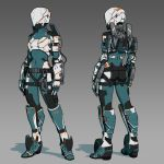 1girl absurdres alpyro armor ass bodysuit commentary cyborg english_commentary full_body gradient gradient_background helmet highres original science_fiction skin_tight