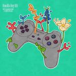 controller english_text flower game_controller green_background hanaan leaf no_humans original outline plant playstation_controller white_flower white_outline