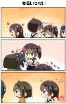 3koma 5girls :d ^_^ ^o^ absurdres akagi_(kantai_collection) artist_name blue_hair blue_hakama blush brown_eyes brown_hair closed_eyes closed_eyes comic commentary_request dual_persona eyebrows_visible_through_hair green_kimono hair_between_eyes hakama hakama_skirt highres hiryuu_(kantai_collection) japanese_clothes kaga_(kantai_collection) kantai_collection kimono long_hair motion_lines multiple_girls one_side_up open_mouth short_hair side_ponytail smile souryuu_(kantai_collection) taisa_(kari) tasuki translation_request twintails yellow_kimono