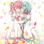 2girls :d ^_^ ankle_strap aqua_bow aqua_choker aqua_footwear bang_dream! bare_shoulders blush bow choker clenched_hands closed_eyes closed_eyes cross-laced_clothes detached_sleeves grin hair_ribbon hikawa_hina hug knees_up maruyama_aya mizukikushou multiple_girls open_mouth petals pink_bow pink_choker pink_footwear ribbon short_hair side_braids sitting smile thigh-highs twintails white_legwear white_ribbon wrist_bow yuri