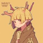 1girl autumn bangs blonde_hair blunt_bangs blush branch english_text hanaan horns looking_at_viewer no_nose orange_eyes original outline short_hair simple_background solo white_outline yellow_background