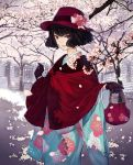 1girl bag bangs black_hair blue_kimono bow brown_gloves building capelet cherry_blossoms commentary_request floral_print flower gloves handbag hat hat_bow hat_flower highres holding holding_bag japanese_clothes kimono long_sleeves looking_at_viewer original parted_lips pink_flower print_kimono red_capelet red_flower red_headwear short_hair solo tree violet_eyes white_bow white_flower wide_sleeves window yasukura_(shibu11)