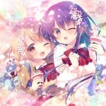 2girls ;d arm_holding bag bag_charm black_eyes black_hair blonde_hair blush bow bowtie braid brown_jacket charm_(object) cherry_blossoms clenched_hand commentary_request cup eyepatch flower gochuumon_wa_usagi_desu_ka? hair_flower hair_ornament holding holding_cup hoto_cocoa jacket long_hair long_sleeves mitsumomo_mamu multiple_girls one_eye_closed open_mouth orange_eyes orange_hair petals red_neckwear school_bag shirt smile stuffed_animal stuffed_bunny stuffed_toy tedeza_rize upper_body white_shirt