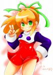 1girl android blonde_hair blush breasts capcom commentary_request dress eyebrows_visible_through_hair green_eyes hair_between_eyes hair_ribbon hand_gesture hand_on_hip high_ponytail highres long_hair looking_at_viewer orangehamu ponytail ribbon rockman rockman_(classic) roll short_dress sidelocks simple_background small_breasts smile solo
