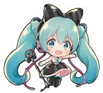 1girl :d bangs bare_shoulders black_bow black_footwear black_legwear black_skirt blue_eyes blush boots bow chibi collared_shirt diagonal_stripes eyebrows_visible_through_hair full_body gloves green_hair green_neckwear hair_between_eyes hair_bow hatsune_miku headphones long_hair looking_at_viewer lowres magical_mirai_(vocaloid) melings_(aot2846) microphone microphone_stand necktie open_mouth outstretched_arm round_teeth shirt short_necktie simple_background skirt sleeveless sleeveless_shirt smile solo striped striped_bow teeth thigh-highs thigh_boots twintails upper_teeth very_long_hair vocaloid white_background white_gloves white_shirt