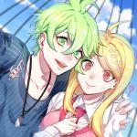1boy 1girl ? ahoge akamatsu_kaede amami_rantarou antenna_hair blonde_hair clouds collarbone commentary_request danganronpa day ear_piercing earrings eyebrows_visible_through_hair green_eyes green_hair hair_between_eyes hair_ornament highres jewelry long_hair long_sleeves musical_note musical_note_hair_ornament nanin necklace necktie new_danganronpa_v3 outdoors piercing pink_neckwear school_uniform shirt short_hair sky striped striped_shirt sweater_vest violet_eyes white_shirt
