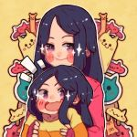 2girls age_difference black_hair blush child family hanaan holding long_hair long_sleeves looking_at_viewer mother_and_daughter multiple_girls open_mouth original outline sleeves_past_wrists smile sparkle upper_body violet_eyes white_outline yellow_background