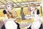 2girls apron coffee cure_maid_cafe grey_hair hinomoto_souya love_live! love_live!_school_idol_project love_live!_sunshine!! maid matching_outfit minami_kotori multiple_girls tea_set watanabe_you wonder_zone