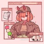 1girl artist_name bangs baseball_cap brown_jacket brown_shirt dango english_text food hair_over_one_eye hanaan hands_in_pockets hat horns jacket long_sleeves looking_at_viewer medium_hair milk milk_carton onigiri original pink_background pink_hair red_eyes red_horns rice shirt shirt_tucked_in solo wagashi window_(computing)