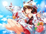1girl animal animal_ear_fluff animal_ears azur_lane bangs black_hair blue_sky bouquet breasts closed_mouth clouds day detached_sleeves eyebrows_visible_through_hair flower fox fox_ears hair_ornament highres hood hood_up japanese_clothes kimono long_hair long_sleeves looking_at_viewer nagato_(azur_lane) orange_eyes outdoors petals pink_flower sky small_breasts smile sugihara_(sugihara2000) sun uchikake wide_sleeves x_hair_ornament yellow_flower