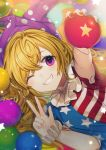 1girl ;) american_flag_dress ball bangs blonde_hair blue_dress blue_nails blush clownpiece daimaou_ruaeru dress eyebrows_visible_through_hair fang grin hair_between_eyes hat holding jester_cap long_hair looking_at_viewer nail_polish neck_ruff one_eye_closed orange_background polka_dot polka_dot_hat purple_headwear red_dress red_nails smile solo star star_print striped striped_dress touhou upper_body violet_eyes w white_dress wrist_cuffs