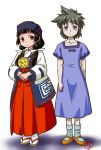 2girls 90s ainu_clothes amayadori_machi bangs black_hair blue_dress blunt_bangs blush brown_eyes brown_hair buntaichou collarbone dress geta hakama headband japanese_clothes key_the_metal_idol kumamiko long_hair low_twintails mary_janes miko mima_tokiko multiple_girls open_mouth red_hakama ribbon shoes short_hair simple_background socks spiky_hair tabi twintails violet_eyes white_background white_ribbon