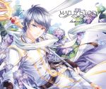 1boy arm_guards belt black_gloves black_hair blue_eyes buckle character_name copyright_name earrings fingerless_gloves floral_background flower gem gloves heterochromia holding holding_staff hydrangea jewelry looking_at_viewer luminous_(maplestory) male_focus maplestory necklace pants parted_lips pendant petals purple_flower red_eyes scarf silverbin smile snowflakes solo staff tassel white_coat white_pants white_scarf