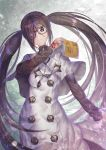 1girl akuta_hinako black-framed_eyewear book brown_hair capelet command_spell commentary_request consort_yu_(fate) fate/grand_order fate_(series) frown glasses hair_between_eyes holding holding_book long_hair looking_at_viewer solo sweater take_tw01 turtleneck twintails very_long_hair