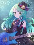 >:) 1girl aqua_hair bang_dream! bangs black_dress black_headwear blue_flower braid center_frills clock confetti detached_sleeves dress earrings electric_guitar flower green_eyes guitar hat hat_flower highres hikawa_sayo hinakano_h instrument jewelry long_hair long_sleeves looking_at_viewer neck_ribbon pink_flower plectrum ribbon solo striped striped_neckwear upper_body