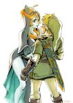 1boy 1girl blonde_hair blue_skin blush eye_contact front_ponytail hat height_difference hood link looking_at_another midna midna_(true) nintendo orange_eyes orange_hair pointy_ears scabbard sheath the_legend_of_zelda the_legend_of_zelda:_twilight_princess tsuyuga yellow_sclera