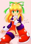 1girl android blonde_hair blush breasts capcom commentary_request dress eyebrows_visible_through_hair green_eyes hair_between_eyes hair_ribbon hand_on_own_chest high_ponytail highres long_hair looking_at_viewer open_mouth orangehamu panties pantyshot pantyshot_(sitting) ponytail red_dress ribbon rockman rockman_(classic) rockman_8 roll sidelocks sitting small_breasts solo underwear