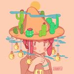 1girl blush bracelet brown_sweater cactus hanaan hands_together hands_up hat jewelry long_sleeves no_nose original pink_background pink_eyes pink_hair portrait short_hair signature simple_background solo sparkle sweater