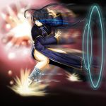 1girl antenna_hair bandage bandaged_leg bandages black_hair blue_dress blue_eyes capelet china_dress chinese_clothes commentary_request dress explosion fighting_stance flats full_body glowing glowing_eyes hair_rings hamaeru highres hip_vent kung_fu long_dress long_hair long_sleeves motion_blur original pelvic_curtain solo split_ponytail tetsuzankou very_long_hair