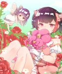 2girls alternate_hairstyle bang_dream! bangs between_legs black_hair bow covering_mouth day detached_sleeves dress fairy fairy_wings flower flying gloves grey_eyes hair_bow hair_flower hair_ornament hairpin heart heart-shaped_pupils holding holding_wand knees_up long_hair magical_girl minato_yukina minigirl mitake_ran multicolored_hair multiple_girls outdoors pink_bow pink_dress red_flower red_rose redhead rose short_hair short_sleeves silver_hair sitting streaked_hair symbol-shaped_pupils twintails violet_eyes wand white_dress white_flower white_gloves winged_wand wings yuri_(hq-yuriri)