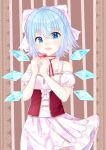 1girl alternate_costume blue_eyes blue_hair blush bow cherry_blossom_print cirno collarbone commentary corset flat_chest hair_bow happy heart ice ice_wings looking_at_viewer neck_ribbon nibosisuzu puffy_short_sleeves puffy_sleeves ribbon short_hair short_sleeves skirt smile solo touhou underbust valentine wind wings