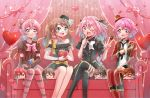 6+boys akai_meganii astolfo_(fate) black_legwear blush braid brown_hair chibi color_connection crossdressing crossover dress fate/grand_order fate_(series) fujimaru_ritsuka_(male) green_eyes hair_color_connection hair_ribbon hat heart highres idol_clothes idolmaster idolmaster_side-m king_of_prism_by_prettyrhythm leona_west looking_at_viewer mini_hat mini_top_hat miniboy mizushima_saki multiple_boys necktie one_eye_closed pink_eyes pink_hair pretty_rhythm pripara red_eyes ribbon saionji_leo shinonome_souichirou single_braid smile sushineta tachibana_yukinojou thigh-highs top_hat trap twintails valentine
