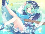 1girl :d adjusting_clothes adjusting_hat alternate_hairstyle bang_dream! beret blue_capelet blue_footwear blue_headwear blue_neckwear blue_ribbon blue_skirt bobby_socks bow braid brooch capelet constellation_hair_ornament earrings electric_guitar frills green_eyes guitar hat hat_bow hikawa_hina hinakano_h instrument jewelry legs_up long_sleeves looking_at_viewer neck_ribbon open_mouth petticoat ribbon skirt smile sock_bow socks solo star striped striped_neckwear symbol_commentary twin_braids white_legwear