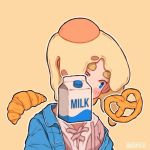 1girl artist_name blue_eyes blush_stickers bread covered_face croissant egg english_text food hanaan head_tilt milk original outline pretzel simple_background solo upper_body white_outline yellow_background