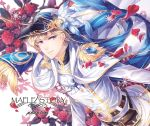 1boy belt belt_pouch blonde_hair blue_ribbon buckle cape character_name copyright_name double-breasted earrings epaulettes floral_background flower fringe_trim hat hat_feather hat_ribbon jacket jewelry long_hair looking_at_viewer male_focus maplestory parted_lips petals phantom_(maplestory) pouch red_flower red_rose ribbon rose rose_petals silverbin smile snowflakes solo violet_eyes white_cape white_jacket