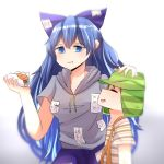 1boy 1girl bangs blue_hair bow el_chavo el_chavo_del_ocho farrel_kb food gradient gradient_background hat highres hood hoodie sandwich suspenders touhou yorigami_shion