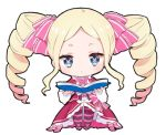 1girl :< bangs beatrice_(re:zero) blonde_hair blue_eyes blush book bow chibi closed_mouth dress drill_hair forehead hair_bow holding holding_book long_sleeves looking_at_viewer lowres melings_(aot2846) open_book pantyhose parted_bangs pink_bow re:zero_kara_hajimeru_isekai_seikatsu red_dress short_eyebrows solo striped striped_bow striped_legwear symbol-shaped_pupils thick_eyebrows twin_drills twintails