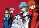 ayanami_rei blue_hair brown_hair highres ikari_shinji nagisa_kaworu neon_genesis_evangelion pale_skin plugsuit red_eyes red_hair scan short_hair silver_hair smile souryuu_asuka_langley