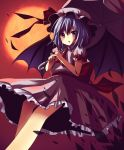 amene_kurumi bat_wings from_below hat highres remilia_scarlet ribbon short_hair solo touhou umbrella wings