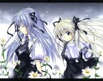 2girls air blonde_hair blue_eyes blue_hair closed_eyes flower highres long_hair multiple_girls ribbon school_uniform snow