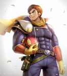 1boy armor blue_eyes bodysuit brown_hair captain_falcon f-zero gloves gonzarez gun helmet highres male_focus muscle nintendo scar scarf simple_background smile solo super_smash_bros. weapon white_background
