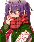1girl absurdres blush box ebisuzawa_kurumi embarrassed eyebrows_visible_through_hair gakkou_gurashi! gift gift_box green_jacket green_sweater hair_between_eyes hair_ribbon highres holding holding_box jacket long_hair long_sleeves looking_at_viewer neck_ribbon open_clothes open_jacket plaid plaid_scarf purple_hair red_eyes red_ribbon red_scarf ribbed_sweater ribbon scarf scarf_over_mouth shirt simple_background sinakyo solo sweater twintails upper_body v-shaped_eyebrows white_background white_shirt