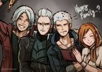 1girl 3boys anger_vein coat commentary crossed_arms dante_(devil_may_cry) devil_may_cry devil_may_cry_5 english_commentary english_text facial_hair father_and_son food gradient gradient_background gzei hetero kyrie multiple_boys nero_(devil_may_cry) one_eye_closed pizza red_coat smile sweat tagme teeth vergil white_hair